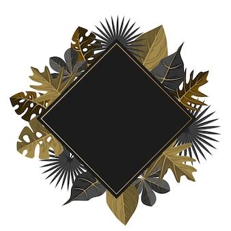 Fond de cadre de bordure de feuille d'été plante tropicale dorée rectangulaire
