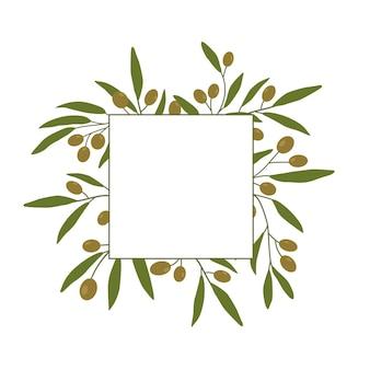 Fond de cadre avec des branches d'olivier