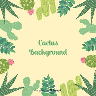 Fond de cadre de cactus dessiné à la main