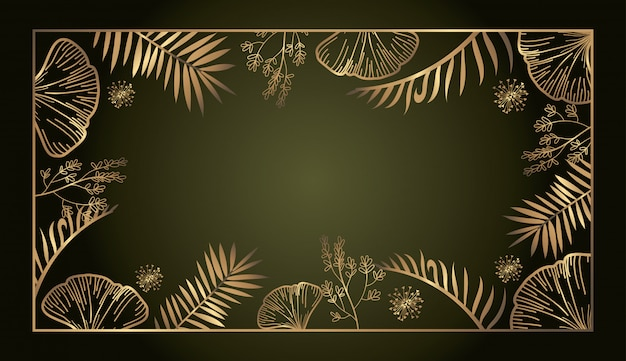 Fond de cadre carré doré luxe botanique exotique