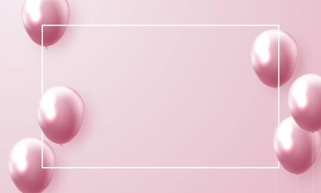 Fond de cadre de célébration rose ballons.