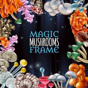 Fond de cadre de champignons magiques