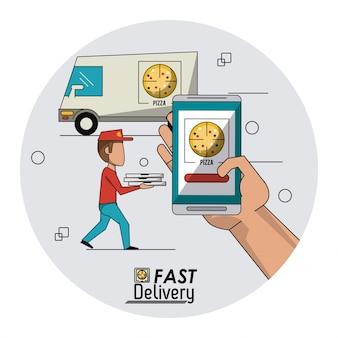 Fond de cadre circulaire avec la livraison rapide dans le camion de pizza