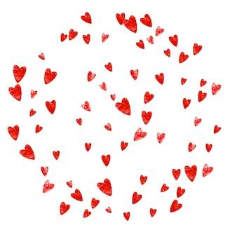 Fond de cadre coeur avec des paillettes roses. la saint-valentin. confettis de vecteur. texture dessinée à la main. thème d'amour pour flyer, offre commerciale spéciale, promo. modèle de mariage et de mariée avec cadre coeur.