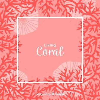 Fond de cadre corail dessiné à la main