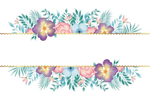 Fond de cadre de couronne de fleurs aquarelle coloré