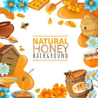 Fond de cadre de dessin animé de miel