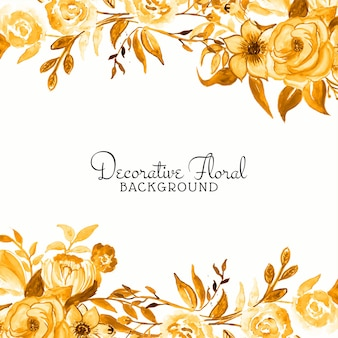 Fond de cadre élégant fleur aquarelle jaune
