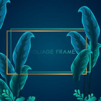 Fond de cadre de feuillage de verdure tropicale. fond de cadre avec ornement de feuillage tropical