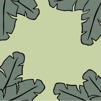 Fond cadre feuille banane médias sociaux post illustration vectorielle feuille tropicale