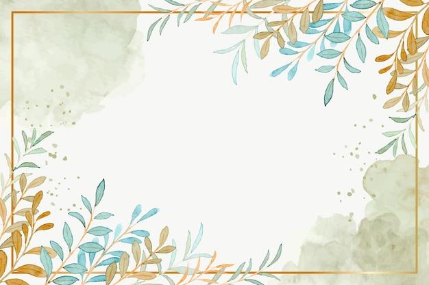 Fond de cadre de feuilles vertes à l'aquarelle