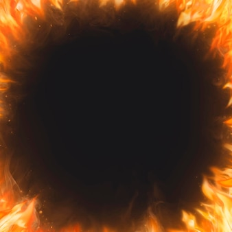 Fond de cadre de flamme, vecteur d'image de feu réaliste noir