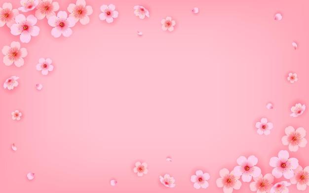 Fond de cadre de fleur de cerisier rose