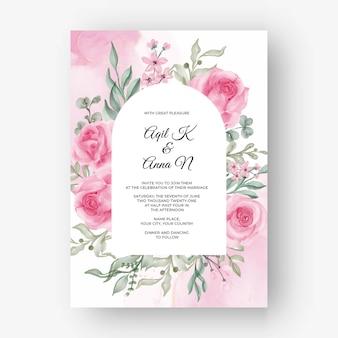 Fond de cadre de fleur rose rose pour l'invitation de mariage