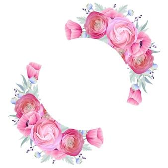 Fond de cadre avec des fleurs florales de renoncule et de pavot