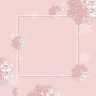 Fond avec cadre et flocon de neige