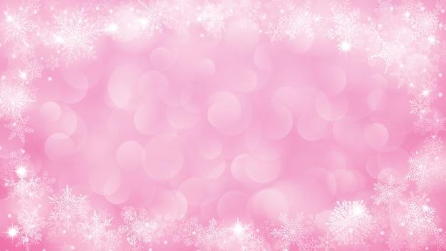 Fond avec cadre de flocons de neige en forme d'ellipce dans des couleurs roses et avec effet bokeh