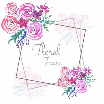Fond de cadre floral abstrait aquarelle mariage