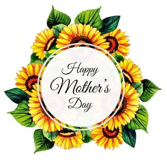 Fond de cadre floral aquarelle happy mother's day