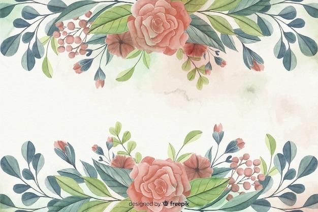 Fond de cadre floral aquarelle peinte