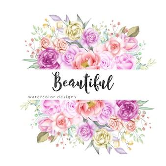 Fond de cadre floral aquarelle