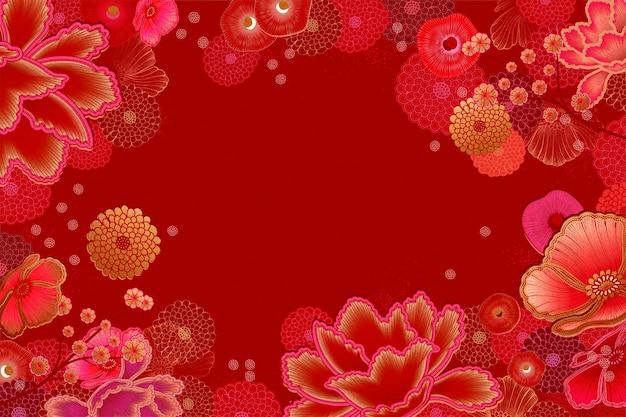 Fond de cadre floral de luxe en ton rouge et fuchsia