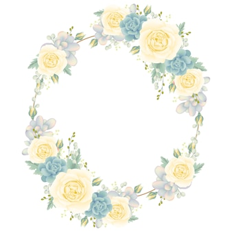 Fond de cadre floral avec rose blanche et succulente