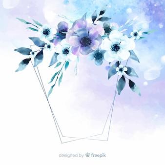 Fond de cadre géométrique floral aquarelle