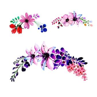 Fond de cadre de guirlande florale printemps aquarelle