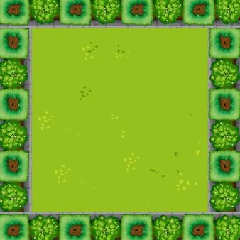 Un fond de cadre de jardin vert avec fond