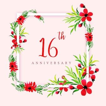 Fond de cadre joyeux anniversaire aquarelle florale