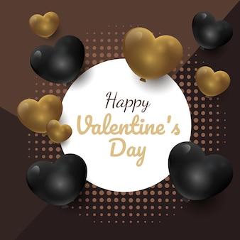 Fond de cadre de luxe joyeux saint valentin or et noir, bannière de promotion, carte de célébration,