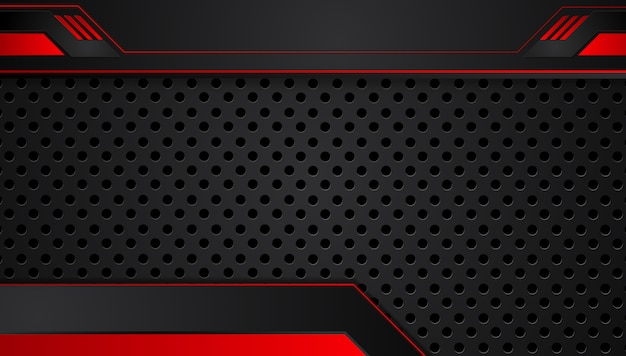 Fond de cadre métallique abstrait rouge noir mise en page design tech innovation concept fond
