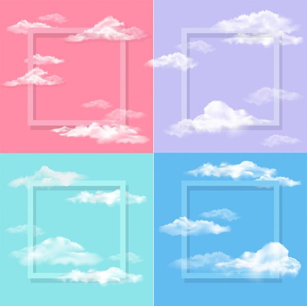Fond de cadre photo avec des nuages sur le ciel bleu