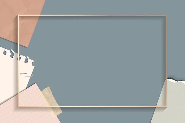 Fond de cadre rectangle notes déchirées