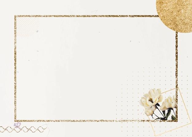 Fond de cadre rectangle scintillant doré