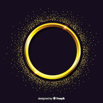 Fond de cadre rond étincelant doré