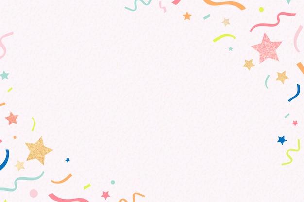Fond de cadre rose, rubans brillants, vecteur de design coloré et festif