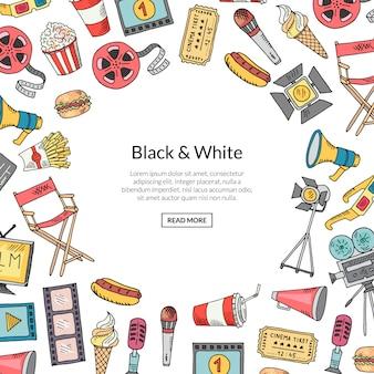 Fond de cadre vecteur cinéma doodle sur blanc avec un modèle de texte