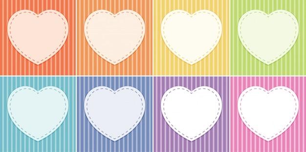 Fond avec des cadres de coeur, des couleurs pastel