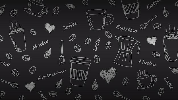 Fond de café doodle dessiné à la main