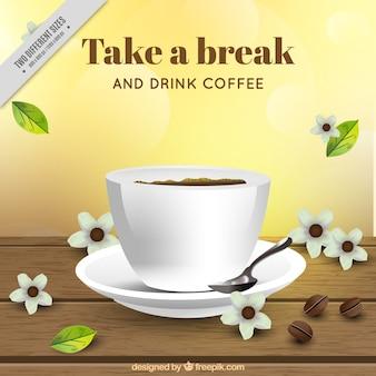 Fond de café avec des éléments floraux