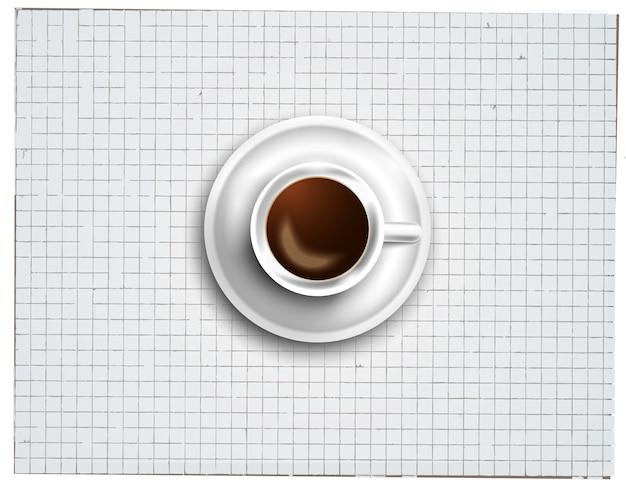 Fond avec un café frais sur la table avec des icônes