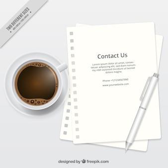 Fond de café avec la lettre et le texte