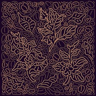 Fond de café motif graphique art ligne décor abstrait arbre branche dorée feuille grain de haricot