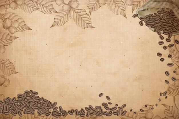Fond de café rétro, gravure de grains de café dans un sac de jute avec des cerises et des feuilles de café