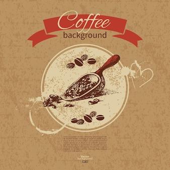 Fond de café vintage dessiné à la main. menu pour restaurant, café, bar, café