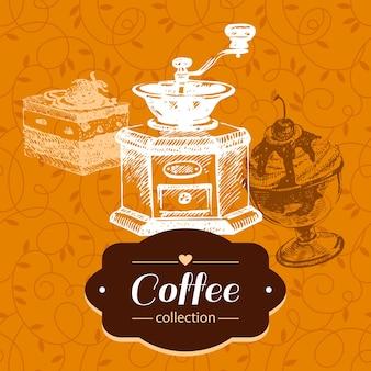 Fond de café vintage. illustration de croquis dessinés à la main. conception de menus