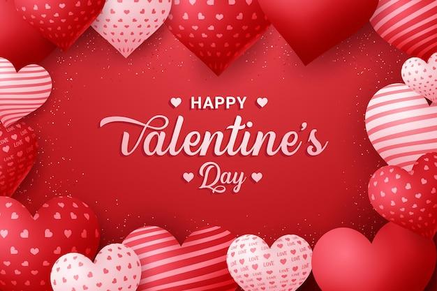 Fond de calligraphie joyeux saint valentin avec des coeurs 3d