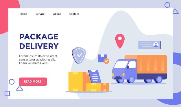 Fond de camion d'expédition de livraison de colis de colis pour modèle de page de destination de page d'accueil de site web